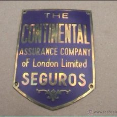 Carteles: CHAPA SEGUROS THE CONTINENTAL 75MM. Lote 42972457
