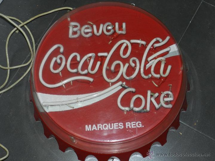 (M) LUMINOSO AÑOS 70 - BEVEU COCA-COLA COKE, 57 CM, SEÑALES DE USO (Coleccionismo - Carteles y Chapas Esmaltadas y Litografiadas)