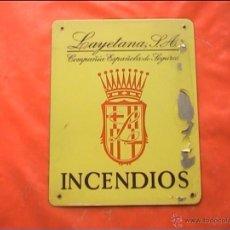Carteles: CHAPA SEGUROS LAYETANA SA INCENDIOS 17X21CM. Lote 43216189