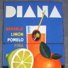 Carteles: CHAPA DE GRAN TAMAÑO PUBLICIDAD REFRESCOS DIANA (2 CHAPAS, 50X100CM APROX EN TOTAL, AÑOS 60). Lote 43337859