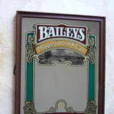 Carteles: CUADRO ESPEJO BAILEYS - 45X34 - MARCO MARRON. Lote 43501546