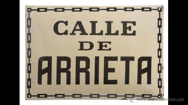 CHAPA ESMALTADA CALLE ARRIETA, PAMPLONA (Coleccionismo - Carteles y Chapas Esmaltadas y Litografiadas)