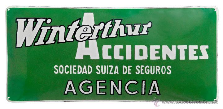 CHAPA ESMALTADA -WINTERHUR ACCIDENTES- PLÚRIMA, BARCELONA (Coleccionismo - Carteles y Chapas Esmaltadas y Litografiadas)