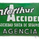 Carteles: CHAPA ESMALTADA -WINTERHUR ACCIDENTES- PLÚRIMA, BARCELONA. Lote 43989422