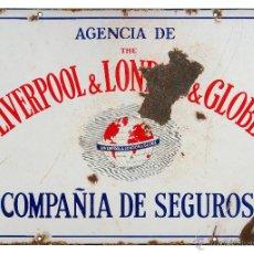 Carteles: CHAPA ESMALTADA- LIVERPOOL -COMPAÑÍA DE SEGUROS. Lote 43997560