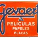 Carteles: CHAPA ESMALTADA GEVAERT PELÍCULAS PAPELES PLACAS. Lote 43997604