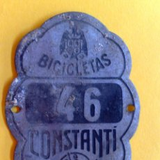 Carteles: CHAPA MATRICULA BICICLETAS,AÑO 1944 DE CONSTANTI (7CMS X 5CMS). Lote 45084621