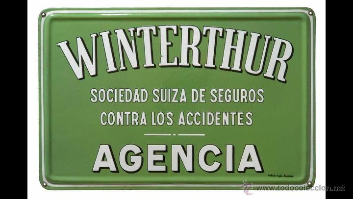 CHAPA ESMALTADA SEGUROS WINTERTHUR (Coleccionismo - Carteles y Chapas Esmaltadas y Litografiadas)