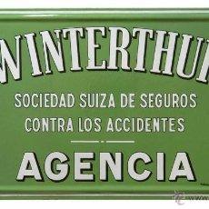 Carteles: CHAPA ESMALTADA PUBLICIDAD SEGUROS WINTERTHUR. Lote 45191801