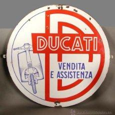 Carteles: MUY RARO. CHAPA ESMALTADA. DUCATI SCOOTER. ITALIA. 1952 - 1954.. Lote 45442386
