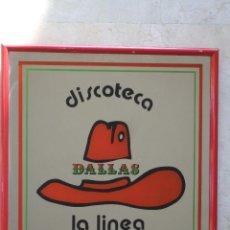 Carteles: CUADRO ESPEJO - DISCOTECA DALLAS - LA LINEA - 31X31 - MARCO ROJO. Lote 45956366