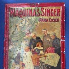 Carteles: CHAPA METALICA MAQUINAS SINGER PARA COSER. G. DE ANDREIS. BADALONA, SIN FECHA.. Lote 26997074