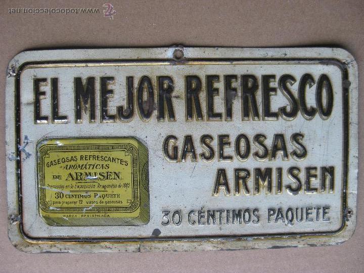 GASEOSAS ARMISEN - RARISIMA CHAPA EN RELIEVE - G. DE ANDREIS BADALONA (Coleccionismo - Carteles y Chapas Esmaltadas y Litografiadas)