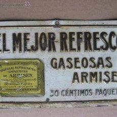 Carteles: GASEOSAS ARMISEN - RARISIMA CHAPA EN RELIEVE - G. DE ANDREIS BADALONA. Lote 47103082