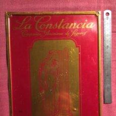 Carteles: ANTIGUO Y RARO CARTEL CHAPA DE PUBLICIDAD SEGUROS LA CONSTANCIA INCENDIOS - G. DE ANDREIS. Lote 47329661
