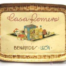Carteles: CHAPA PLACA BANDEJA PUBLICIDAD CASA ROMERO CHOCOLATES. BENAVIDES LEÓN AÑOS 30 CIRAGES FRANÇAIS. Lote 47595655
