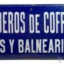 Carteles: CHAPA ESMALTADA- HERVIDEROS DE COFRENTES-AGUAS Y BALNEARIO- VALENCIA. Lote 44013231