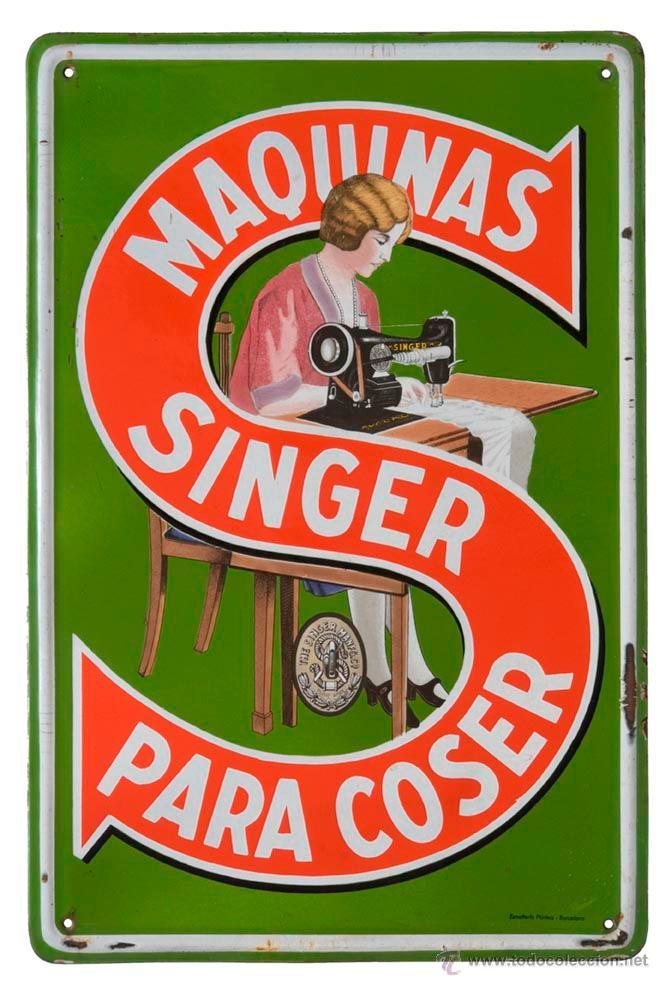 SINGER CHAPA ESMALTADA PLÚRIMA (Coleccionismo - Carteles y Chapas Esmaltadas y Litografiadas)
