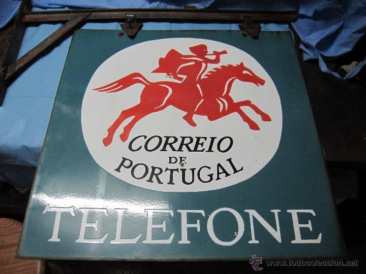 CARTEL PLACA PRECIOSA DE CHAPA ESMALTADA LACADA CORREIO DE PORTUGAL TELEFONE CORREO TELEFONO (Coleccionismo - Carteles y Chapas Esmaltadas y Litografiadas)