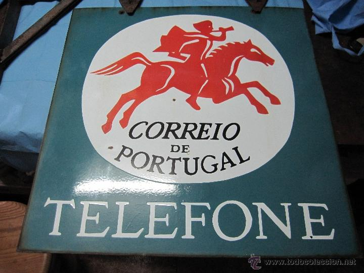 Carteles: CARTEL PLACA PRECIOSA DE CHAPA ESMALTADA LACADA CORREIO DE PORTUGAL TELEFONE CORREO TELEFONO - Foto 2 - 49093606
