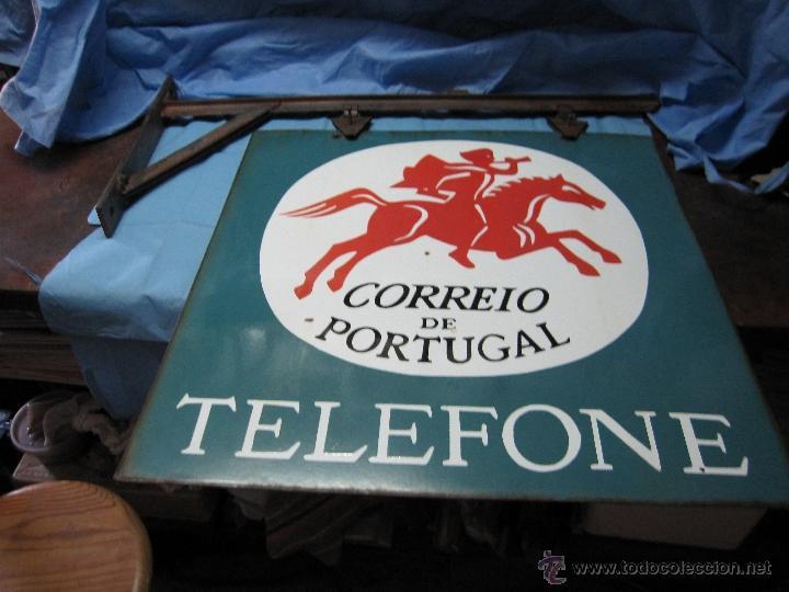 Carteles: CARTEL PLACA PRECIOSA DE CHAPA ESMALTADA LACADA CORREIO DE PORTUGAL TELEFONE CORREO TELEFONO - Foto 3 - 49093606