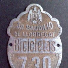 Carteles: CHAPA ANTIGUA MATRICULA BICICLETAS DE SAN BAUDILIO DE LOBREGAT (6CMS. X 4CMS.). Lote 49180997