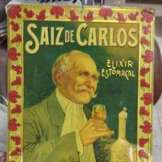 Carteles: CHAPA PUBLICITARIA. ELIXIR ESTOMACAL. SAIZ DE CARLOS. RELIEVE. MUY BUEN ESTADO. 35 X 50CM. Lote 49936127