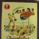 Carteles: CHAPA PUBLICITARIA. CHOCOLATES EUDOSIO LOPEZ. MUY BUEN ESTADO. 25 X 34CM. MUY RARA. Lote 49936328