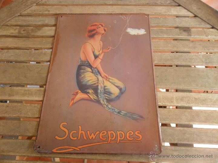 CHAPA LOTOGRAFIADA EN METAL PUBLICIDAD TONICA REFRESCOS SCHWEPPES MIDE 49.5 X 34.5 CM (Coleccionismo - Carteles y Chapas Esmaltadas y Litografiadas)
