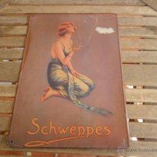 Carteles: CHAPA LOTOGRAFIADA EN METAL PUBLICIDAD TONICA REFRESCOS SCHWEPPES MIDE 49.5 X 34.5 CM. Lote 50185225