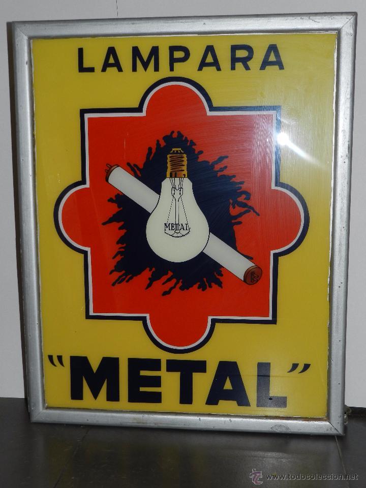 (M) LUMINOSO LAMPARA METAL , AÑOS 60 / 70 , 73 X 58 CM , VER FOTOGRAFIAS ADICIONALES (Coleccionismo - Carteles y Chapas Esmaltadas y Litografiadas)