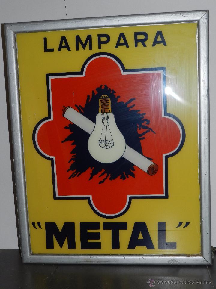 Carteles: (M) LUMINOSO LAMPARA METAL , AÑOS 60 / 70 , 73 X 58 CM , VER FOTOGRAFIAS ADICIONALES - Foto 2 - 50339029
