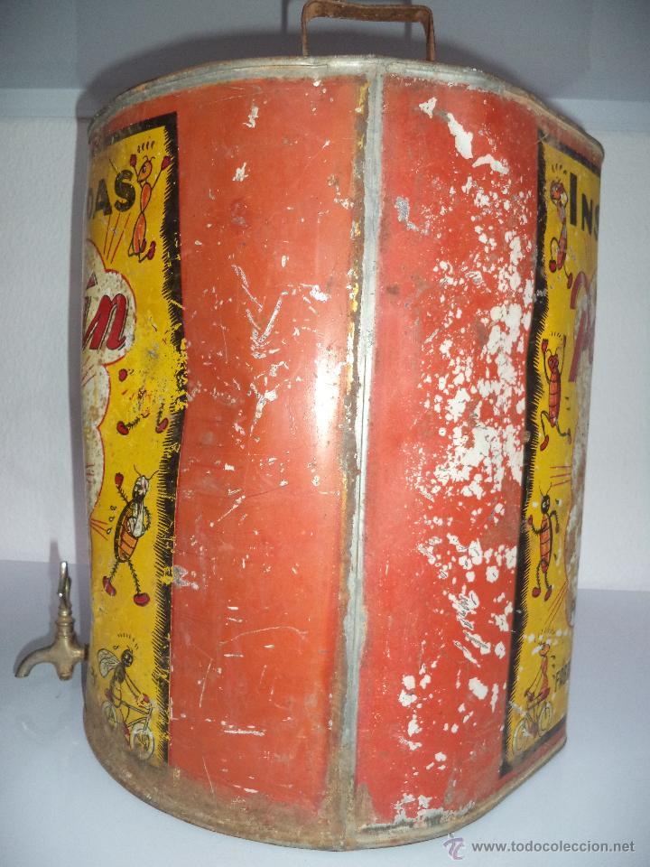 Carteles: Lata de Insecticidas Polvorín,Murcia,Gran tamaño,con grifo,muy rara,regular estado - Foto 2 - 50366254