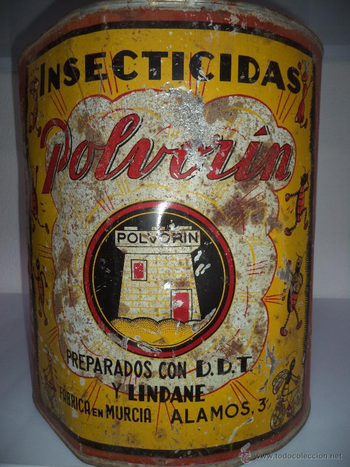 Carteles: Lata de Insecticidas Polvorín,Murcia,Gran tamaño,con grifo,muy rara,regular estado - Foto 4 - 50366254