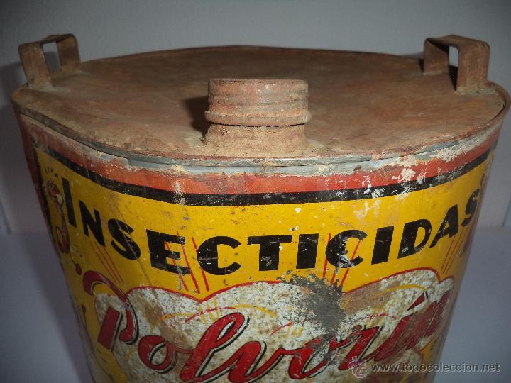 Carteles: Lata de Insecticidas Polvorín,Murcia,Gran tamaño,con grifo,muy rara,regular estado - Foto 5 - 50366254