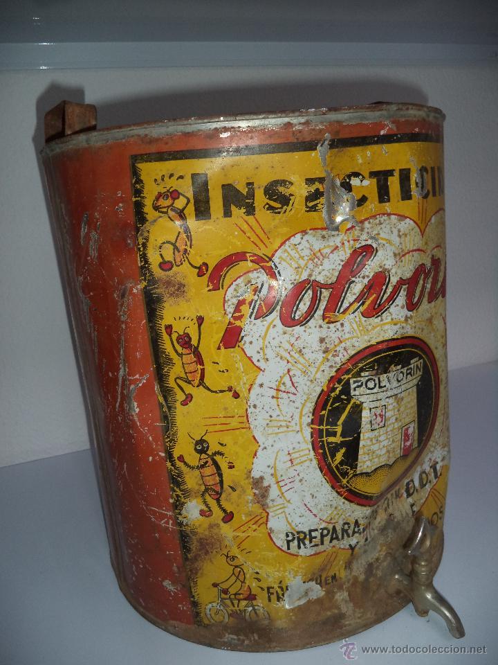 Carteles: Lata de Insecticidas Polvorín,Murcia,Gran tamaño,con grifo,muy rara,regular estado - Foto 6 - 50366254