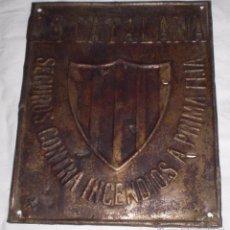 Carteles: CHAPA DE SEGUROS LA CATALANA. Lote 50719338