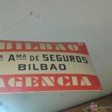 Carteles: CARTEL EN ESMALTE DE BILBAO, SEGUROS. AGENCIA. 28 X 30 CM FABRICANTE SIMON BILBAO. Lote 51593874