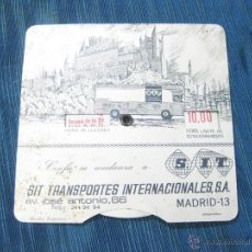 Plakate - MARCADOR DE LA HORA DE APARCAMIENTO CON PUBLICIDAD DE SIT. TRANSPORTES INTERNACIONELAS. AÑOS 70 - 52140410
