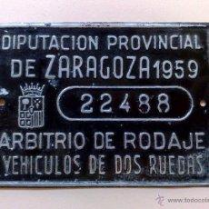 Carteles: CHAPA MATRICULA ARBITRIO RODAJE VEHICULOS 2 RUEDAS,AÑO 1959 DE ZARAGOZA (9CM. X 6,5CM.) DESCRIPCIÓN. Lote 76340482