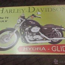 Carteles: CARTEL PLACA EN CHAPA VINTAGE MOTO HARLEY DAVIDSON (THE 74 O.H.V HYDRA GLIDE ). Lote 52315853