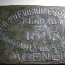 Carteles: CHAPA DE SEGUROS LA PREVISION ESPAÑOLA. Lote 52539414