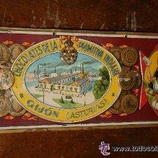 Carteles: CHAPA ORIGINAL EN LATA, PUBLICIDAD DE CHOCOLATES PRIMITIVA INDIANA. GIJÓN ASTURIAS. 35 X 15,50 CM.. Lote 52548668