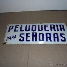 Carteles: ( M) PELUQUERIA - ANTIGUA CHAPA ESMALTADA PELUQUERIA PARA SEÑORAS - 40X15 CM. ESM. TRIBE - BARCELONA. Lote 52634464