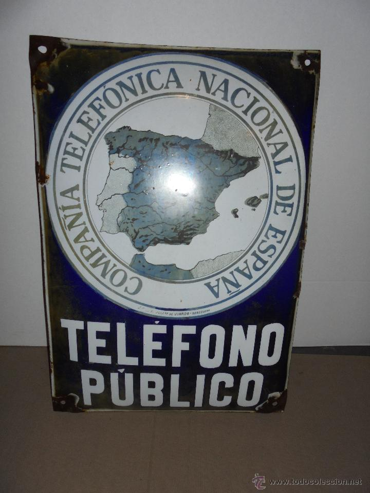 (M) TELEFONOS ANTIGUA CHAPA ESMALTADA COMPAÑIA TELEFONICA NACIONAL DE ESPAÑA TELEFONO PUBLICO (Collectable Objects - Enamelled and Lithographed Posters, Placards and Mirrors)
