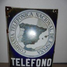 Carteles: (M) TELEFONOS ANTIGUA CHAPA ESMALTADA COMPAÑIA TELEFONICA NACIONAL DE ESPAÑA TELEFONO PUBLICO . Lote 52635094