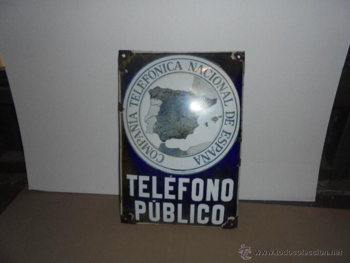 Posters: (M) TELEFONOS ANTIGUA CHAPA ESMALTADA COMPAÑIA TELEFONICA NACIONAL DE ESPAÑA TELEFONO PUBLICO - Foto 2 - 148400189