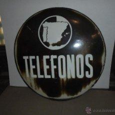 Carteles: (M) TELEFONOS - ANTIGUA CHAPA ESMALTADA REDONDA - TELEFONOS - 56 CM. ORIGINAL DE EPOCA , NO REPRODUC. Lote 52635153