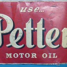 Carteles: USE... PETTER. MOTOR OIL. CHAPA LITOGRAFIADA POR G. DE ANDREIS. BADALONA. 98 X 63 CTMS. MUY RARA. Lote 132085370