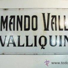 Carteles: ANTIGUA PLACA ESMALTADA. ARMANDO VALLINA. VALLIQUIN. REALIZADA EN B. SOPEÑA SOTRONDIO ASTURIAS. Lote 52932647